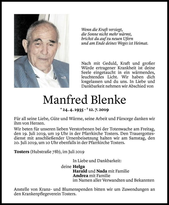 Trauer um Ehrenmitglied Manfred Blenke